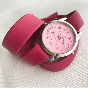 SHA Dual Time Zone Faceted Pink Leather Wrap Watch